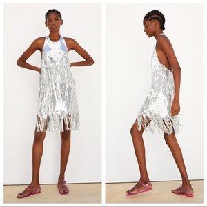 NWT. Zara Silver Sequin Appliqué Dress. Size S.